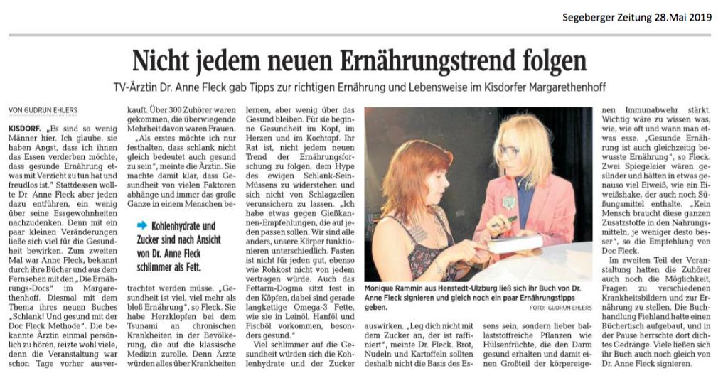 Segeberger Zeitung / Kieler Nachrichten vom 28.05.2019
