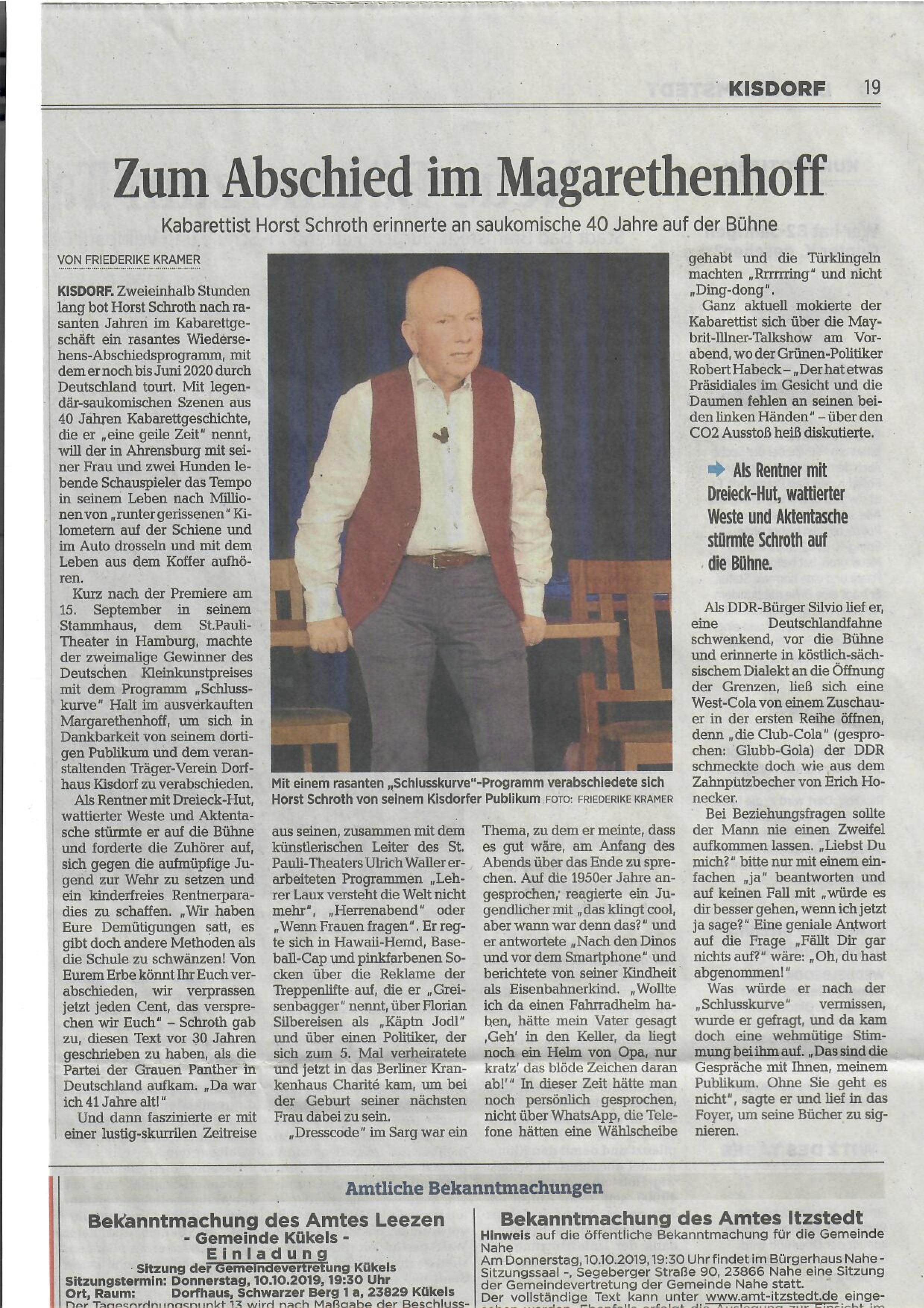 Segeberger Zeitung / Kieler Nachrichten vom 30.09.2019